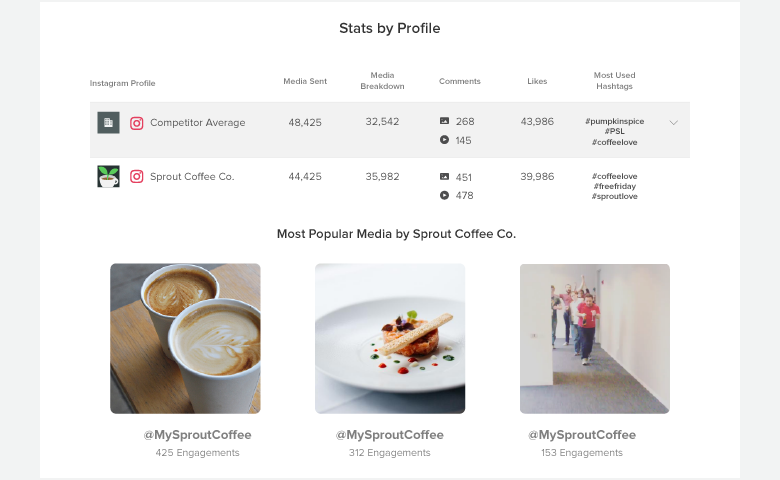 instagram competitor report stats by profile
