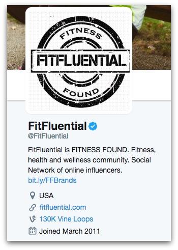 FitFluential Twitter Bio