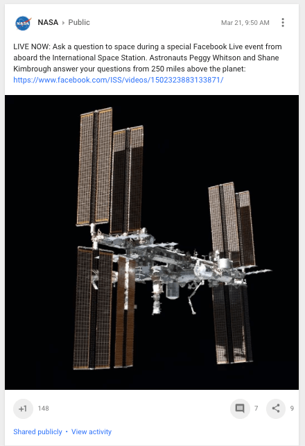 NASA Google Plus Post