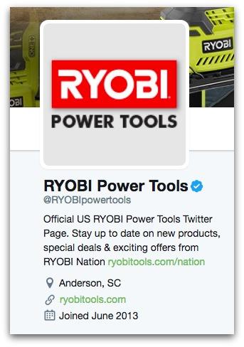 Ryobi Power Tools Twitter Bio