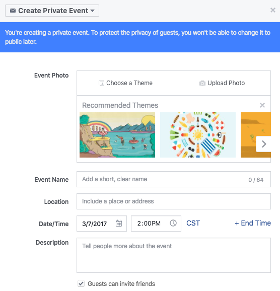 create a facebook event example