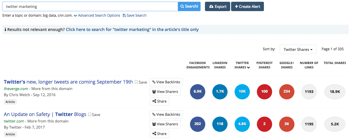buzzsumo search example  10 Twitter Tools You'll Actually Use buzzsumo search example
