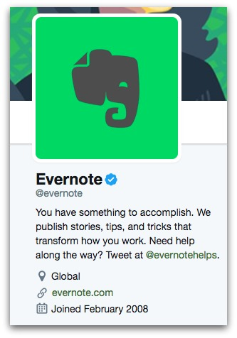 evernote twitter bio  8 Twitter Bio Ideas to Attract More Followers evernote twitter bio