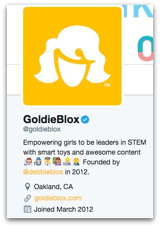 goldieblox twitter bio  8 Twitter Bio Ideas to Attract More Followers goldieblox twitter bio