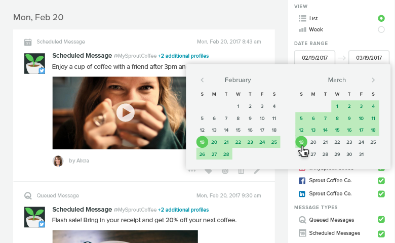 calendar date picker within sprout social