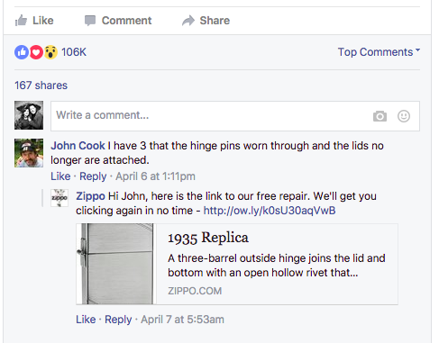 zippo useful comment on facebook