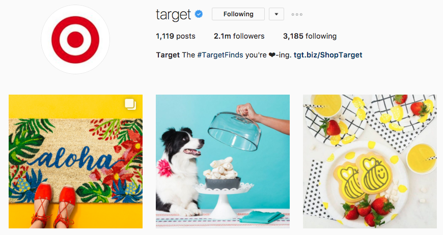 target instagram screenshot example
