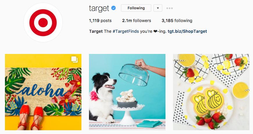 target instagram screenshot example