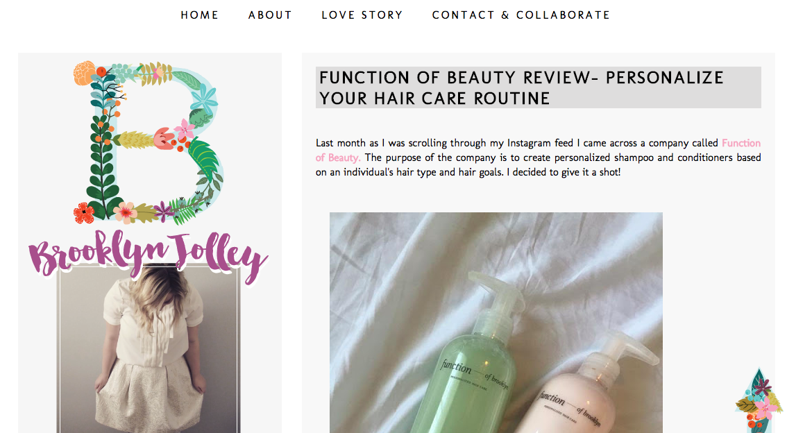 function of beauty blogger review