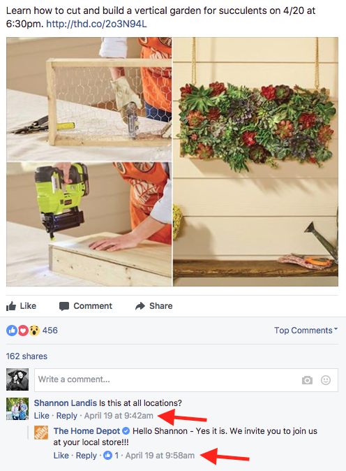 home depot facebook example