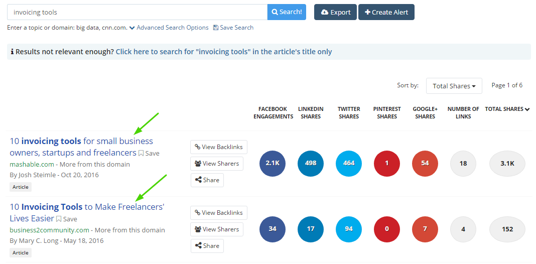 buzzsumo search example  How to Write a Blog Post Your Audience Can't Resist Sharing invoicing tools buzzsumo search