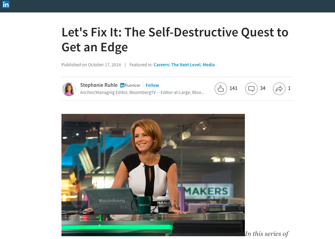 stephanie ruhle LinkedIn Pulse article