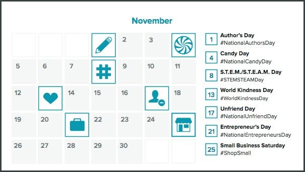 hashtag holiday calendar