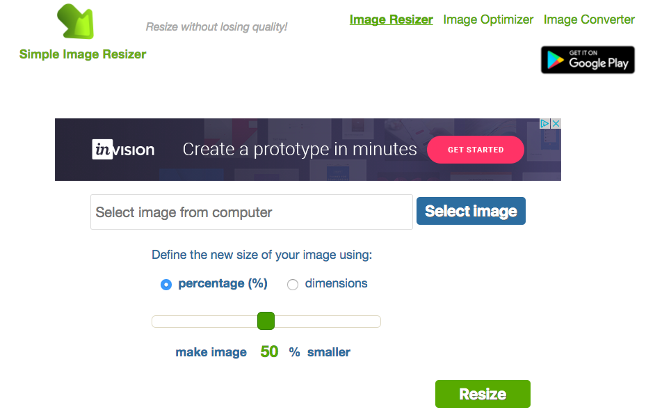 simple image resizer screenshot