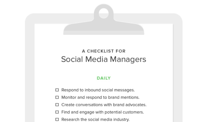 social media manager checklist