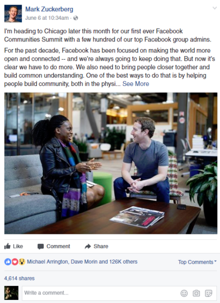Mark Zuckerberg Facebook Post