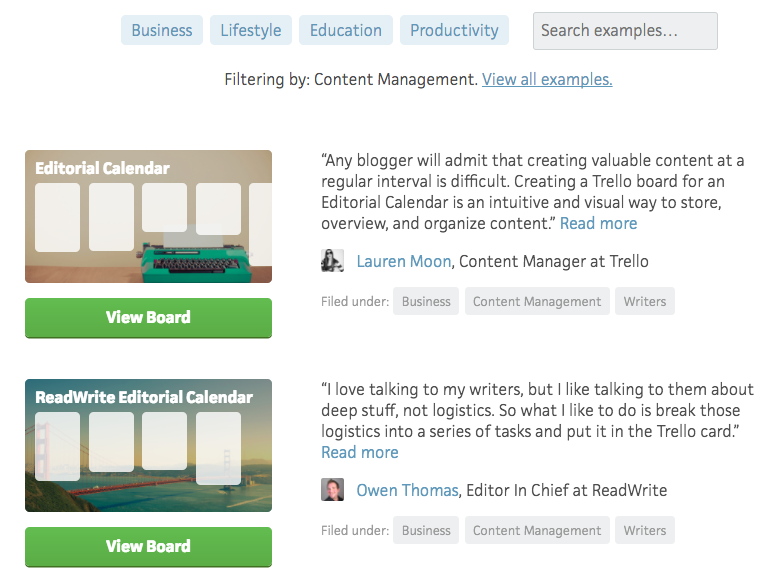 Trello content management inspiration boards
