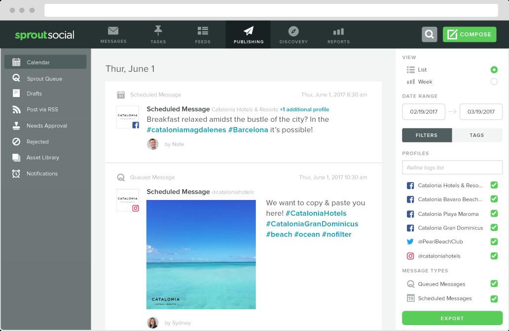 sprout social publishing calendar view