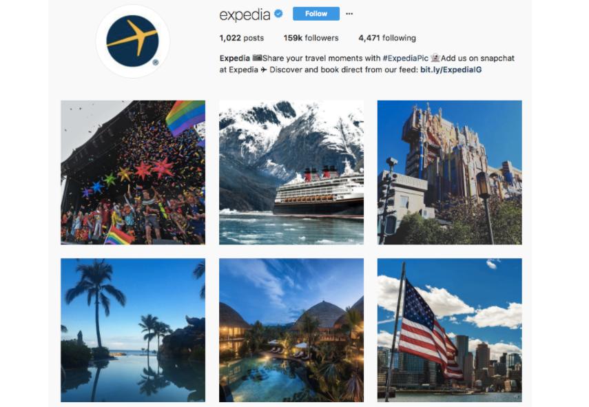 ejemplo del azul de expedia en instagram