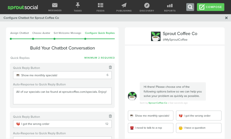 chatbot conversation creator in sprout