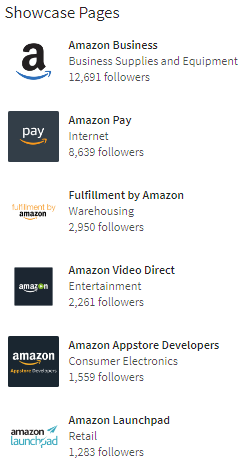 amazon linkedin showcase pages