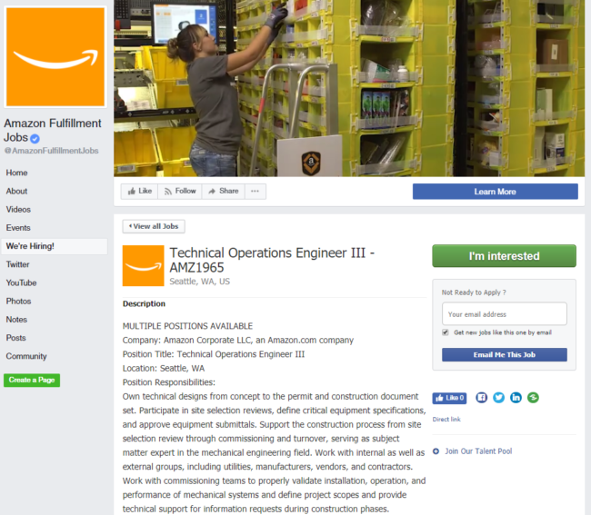 Amazon fulfillment Careers Facebook Page