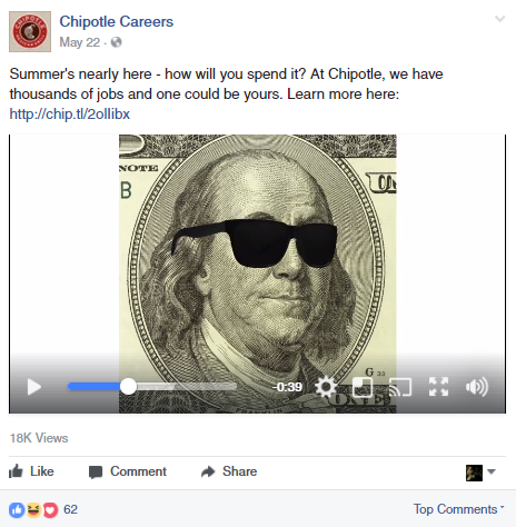 Chipotle facebook job post