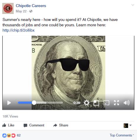 Chipotle facebook job post