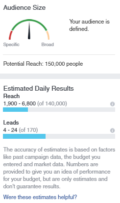 facebook ad audience size