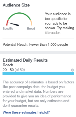 facebook recruiting ad audience size refined