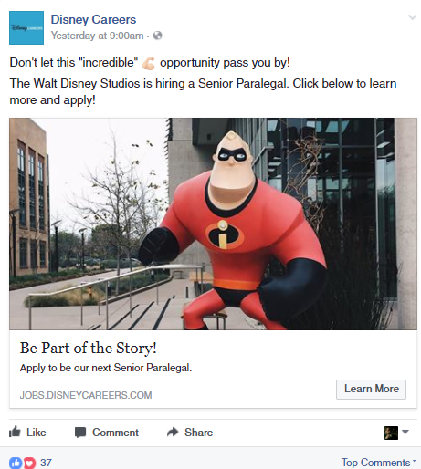 Disney Careers post