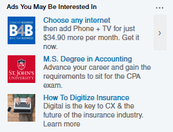 "linkedin ""ads you may be interested in"""