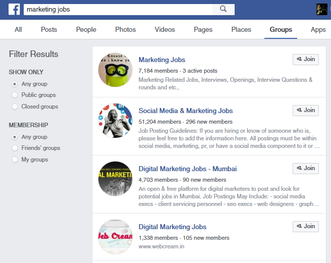 marketing jobs facebook groups