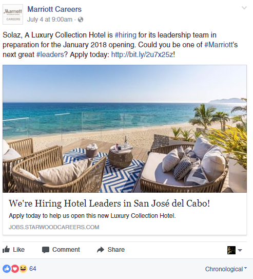 Marriott hotel facebook recruiting post