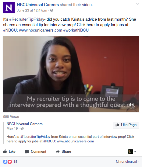 NBC Universal Careers Facebook Post