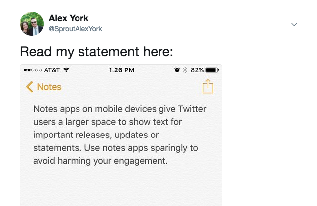 screenshot of notes on twitter
