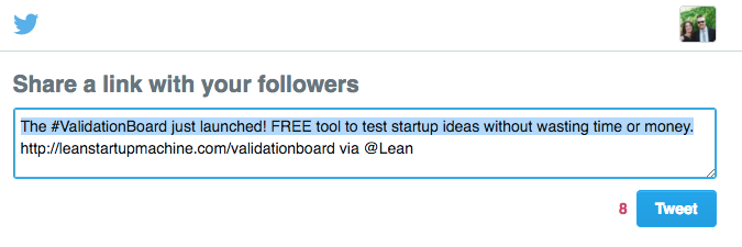 direct tweet from lean startup machine
