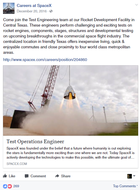 Spacex facebook recruiting post