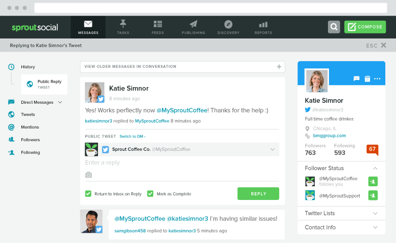 twitter contact view