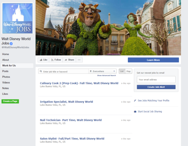 walt disney world careers facebook page