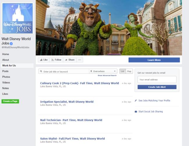 walt disney world careers facebook page