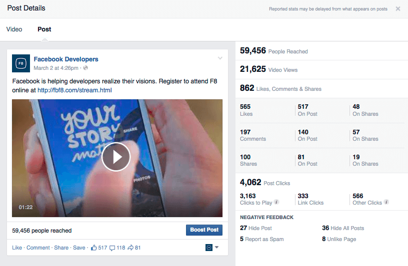 facebook video engagement stats