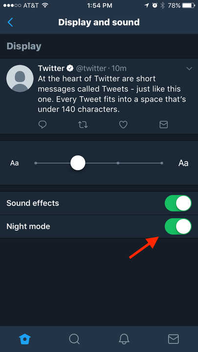 night mode on twitter