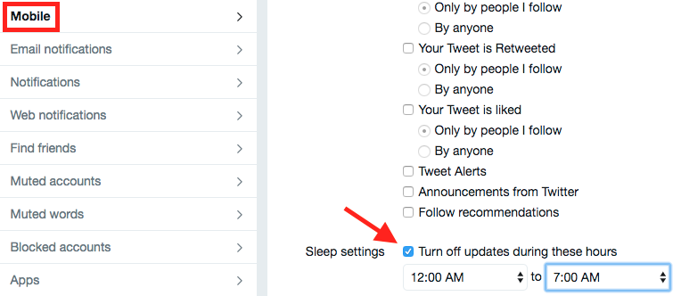 sleep settings on twitter