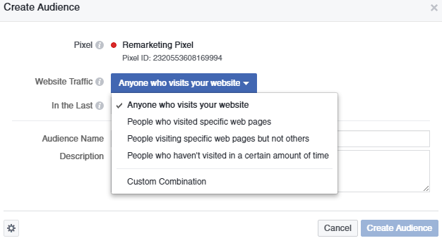 Website Traffic dropdown in Facebook Pixel