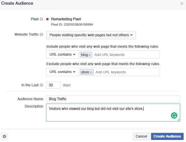 Remarketing Pixel example specifics  A Quick & Comprehensive Guide to Facebook Remarketing Facebook Pixel 3