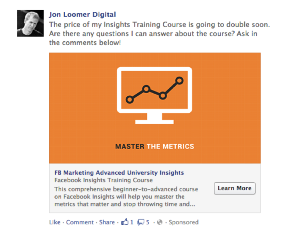 Jon Loomer Facebook Remarketing ad example  A Quick & Comprehensive Guide to Facebook Remarketing Jon Loomer