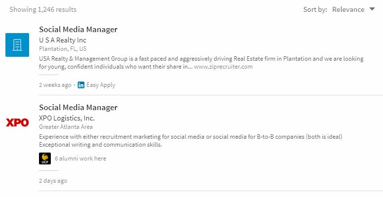 social media manager job listings