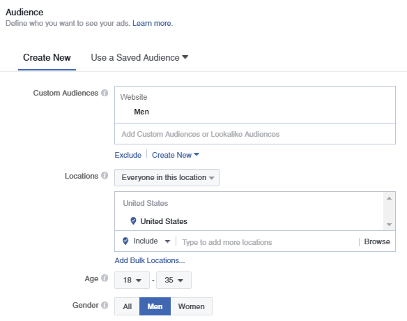 Facebook customer audience men  A Quick & Comprehensive Guide to Facebook Remarketing Men