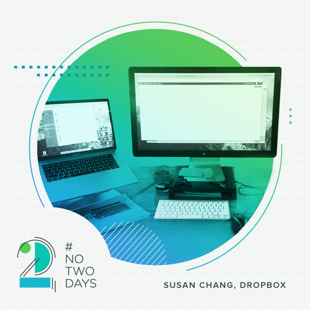 The desk of Susan Chang at Dropbox HQ.  #NoTwoDays: A Day in the Life of Susan Chang of Dropbox NoTwoDays SusanChang 05